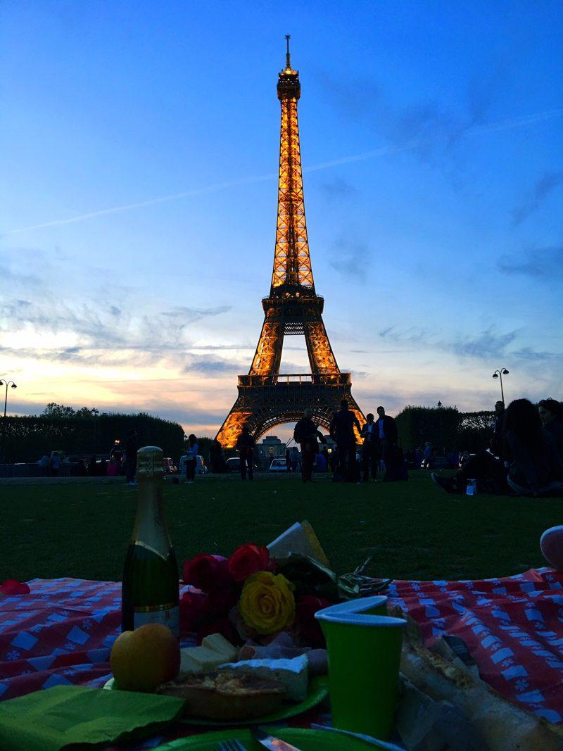 Eiffel Tower picnic at night