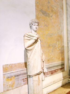 Statue at the Baths of Diocletian in Rome. Statues here date from the 1st century B.C. to the 4th century A.D.