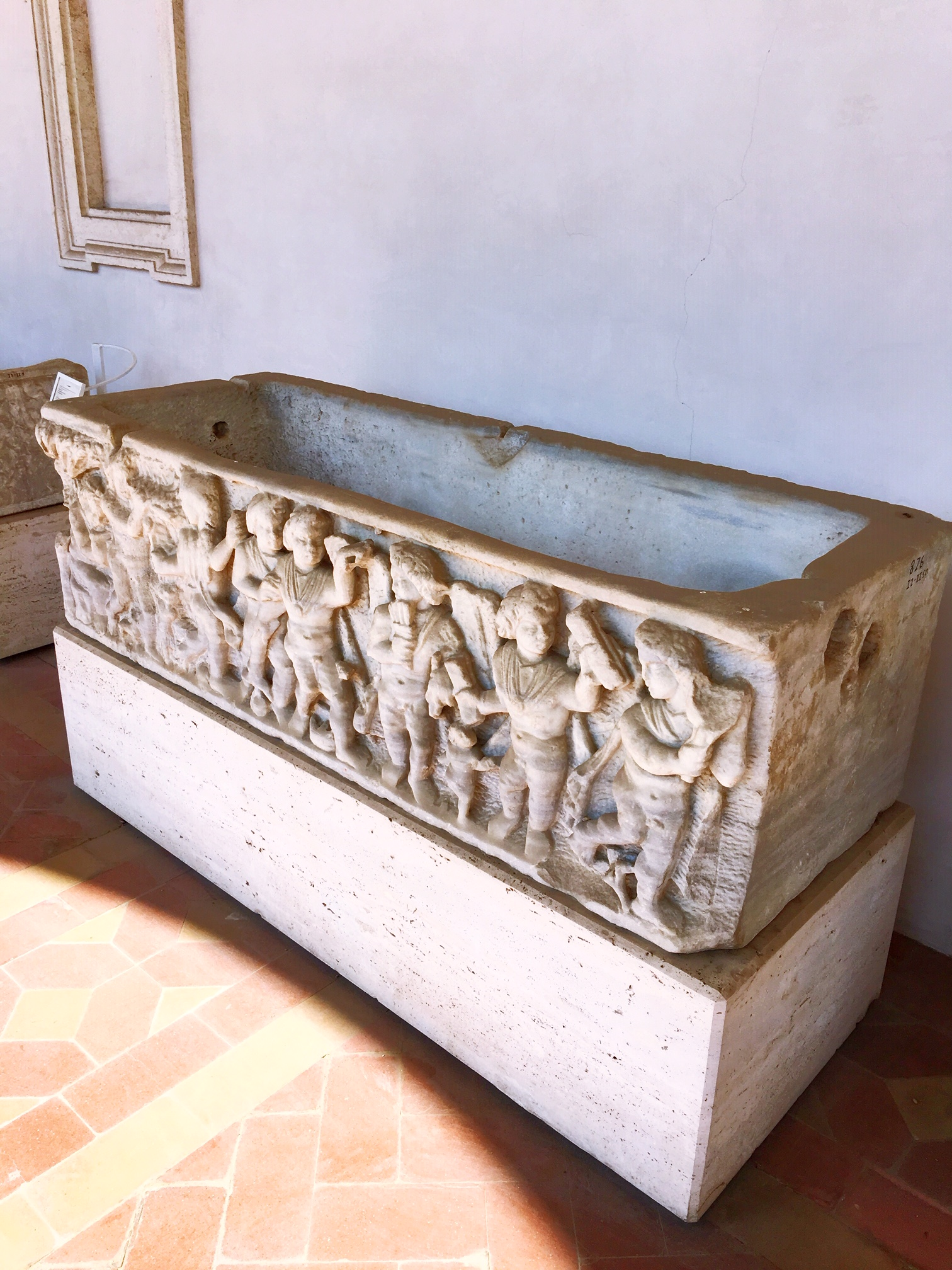 the details on this 4th century sarcophagus are amazing. 1700 years later the eyes and noses and facial expressions are all still there. You can see it at the Baths of Diocletian in Rome