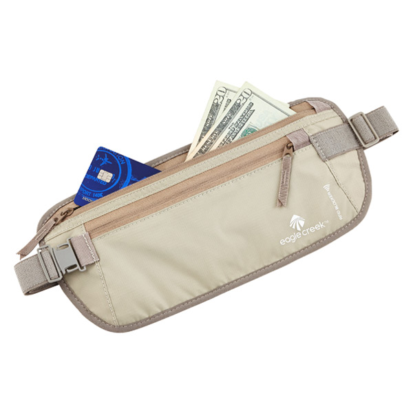 Eagle Creek money belt sits under your waistband and holds passport, cash and credit cards