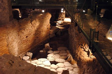 An ancient Roman road underneath Palazzo Valentini in Rome. During the tour a laser lights up the ptterns in the stones