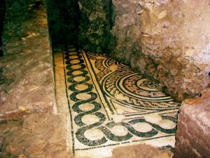 Ancient mosaics on the floors of the Roman house underneath Palazzo Valentini in Rome. These mosaics are 2000 years old!