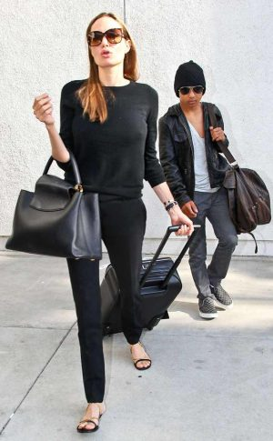 angelina jolie and maddox arriving at LAX