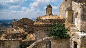 ancient buildings in the southern Italian town of Grottole in Basilicata
