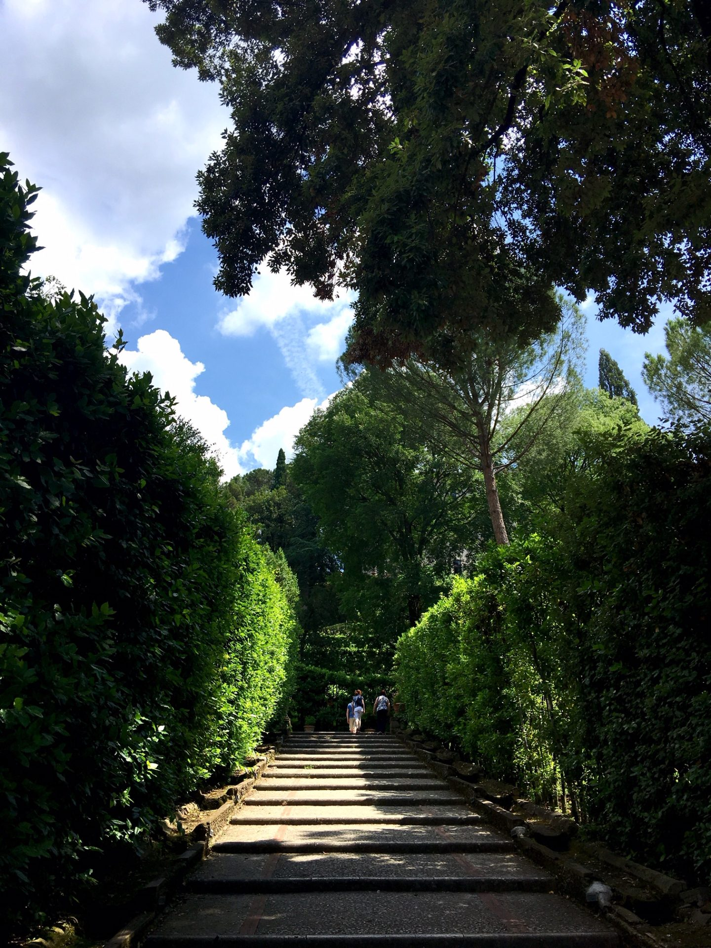 steep pathways work their way down into the gardens at Villa d'Este in Tivoli
