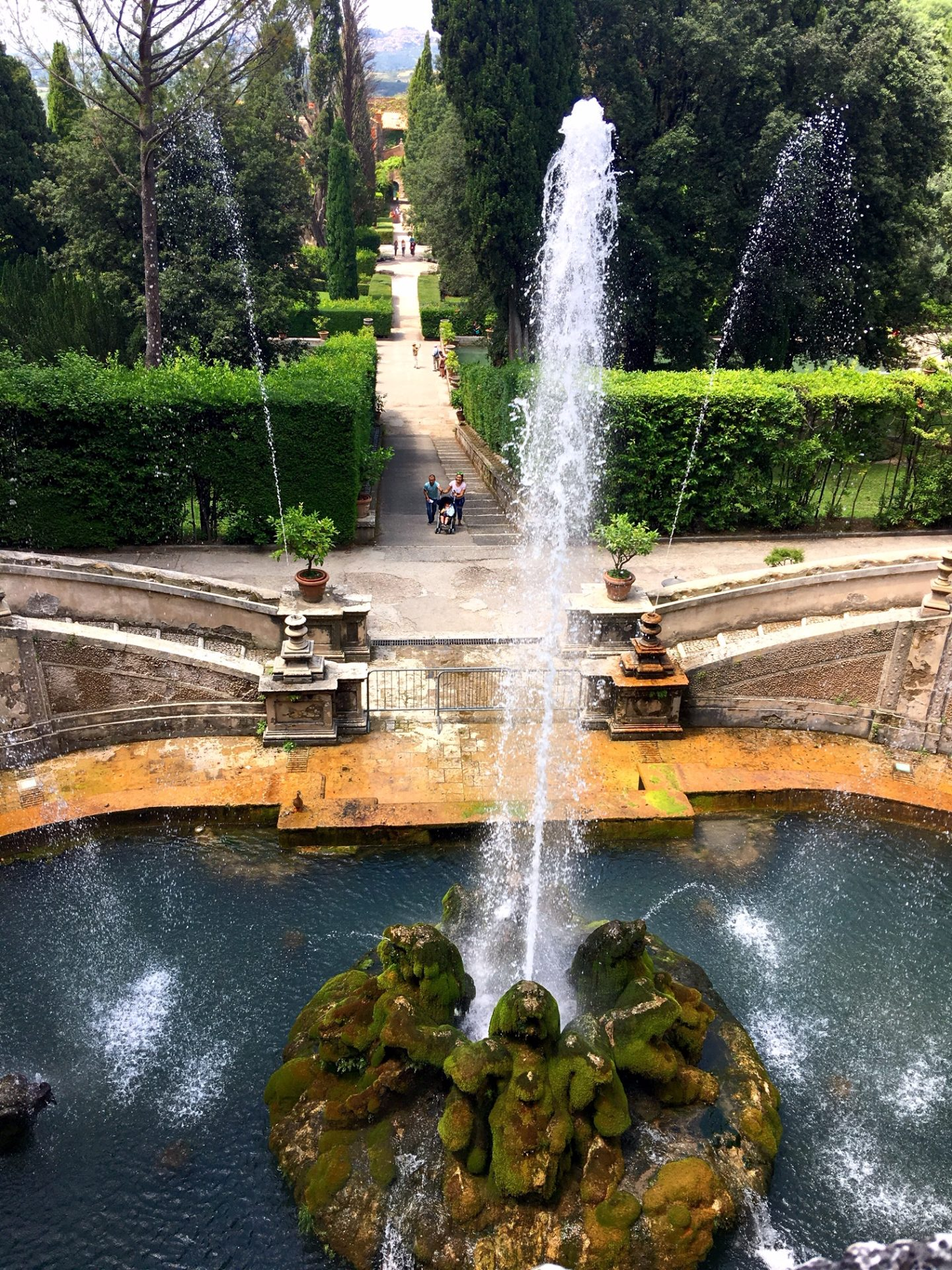 Fountain in the gardens at Villa d'Este in Tivoli