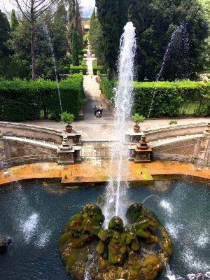 Fountain in the gardens at Villa d'Este in Tivoli