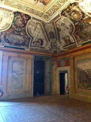 Frescoed ceilings inside Villa d'Este in Tivoli, outside Rome