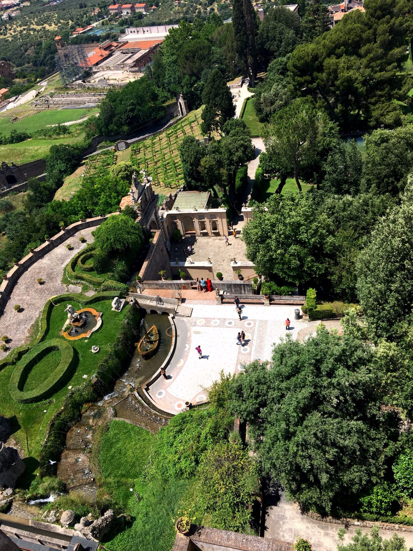 view of the gardens of Villa d'Este in Tivoli