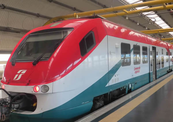 Leonardo Express train at Rome Fiumicino airport