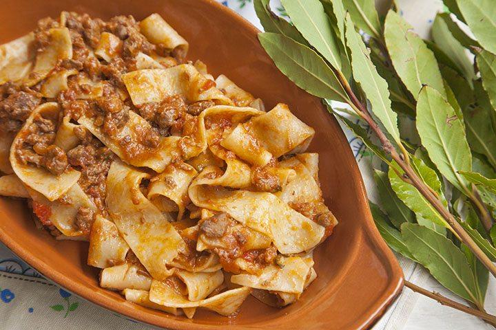 the king of tuscan pastas, pappardelle con cinghiale. This is a wild boar sauce served with flat ribbon pasta