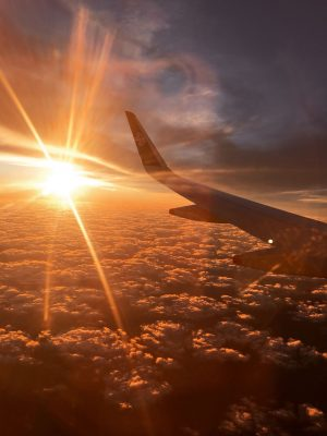 Air new Zealand Evening flight over clouds