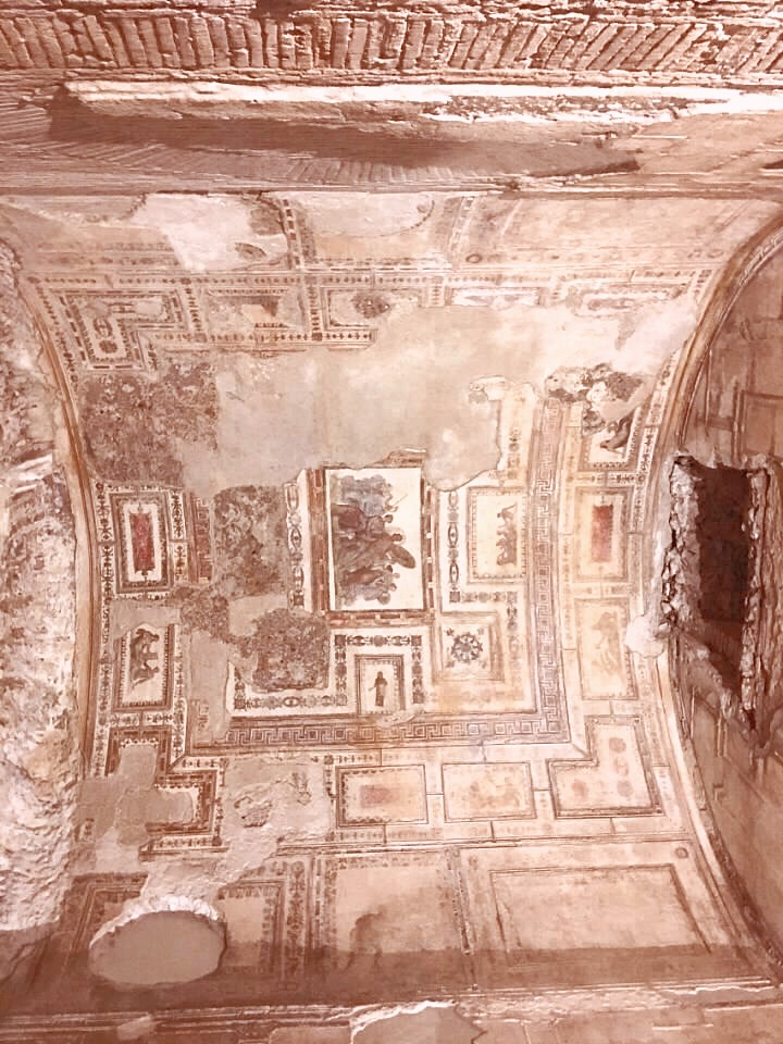 fresco'd ceiling in Nero's Golden Palace in underground Rome