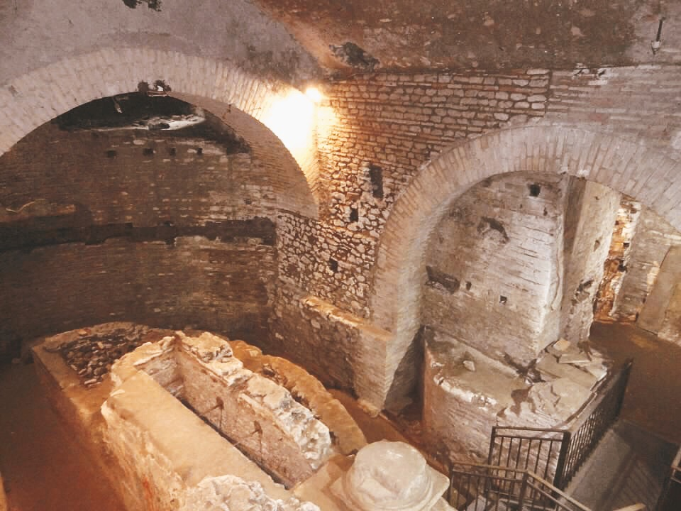 Underground Rome, the city beneath the city. Ruins of a 4th century chapel