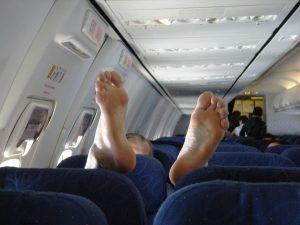 bare feet on airplane