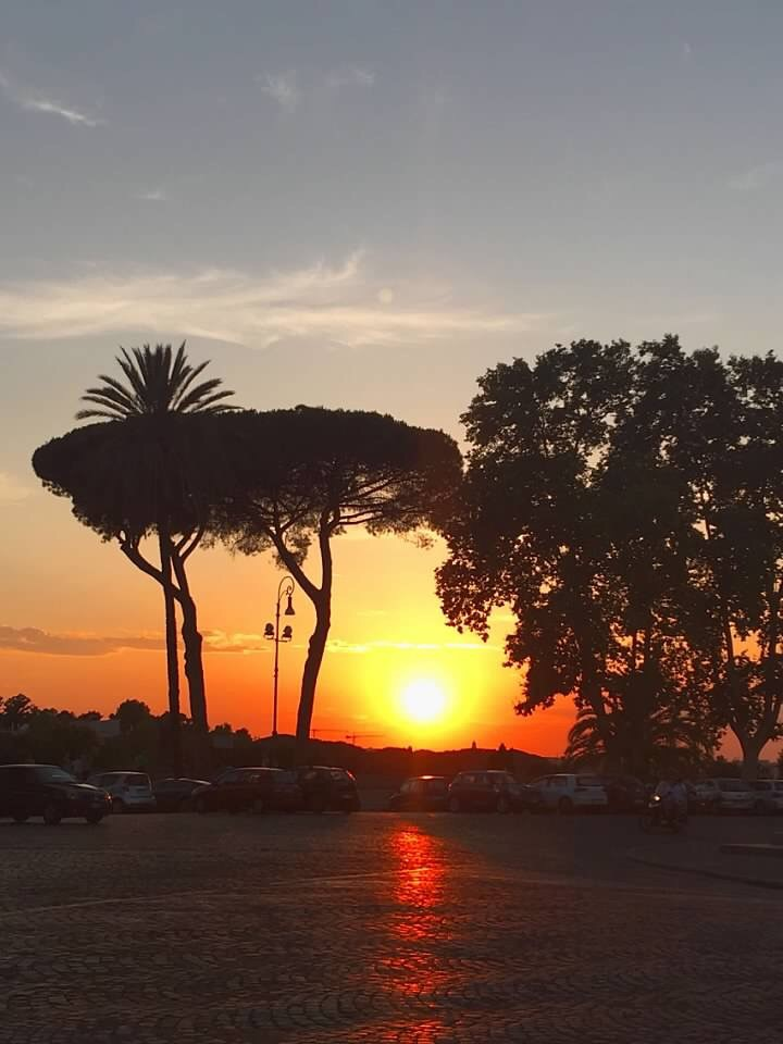 sunset on the janiculum hill in Rome