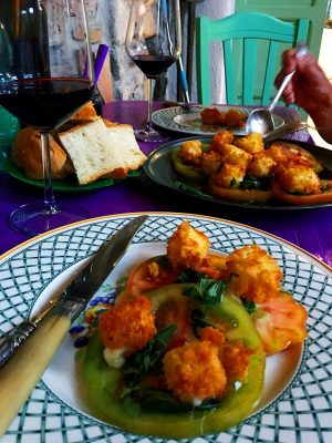 dinner at the Orangery Retreat in Basilicata. Local tomatoes and deep fried cheese served with Primitivo