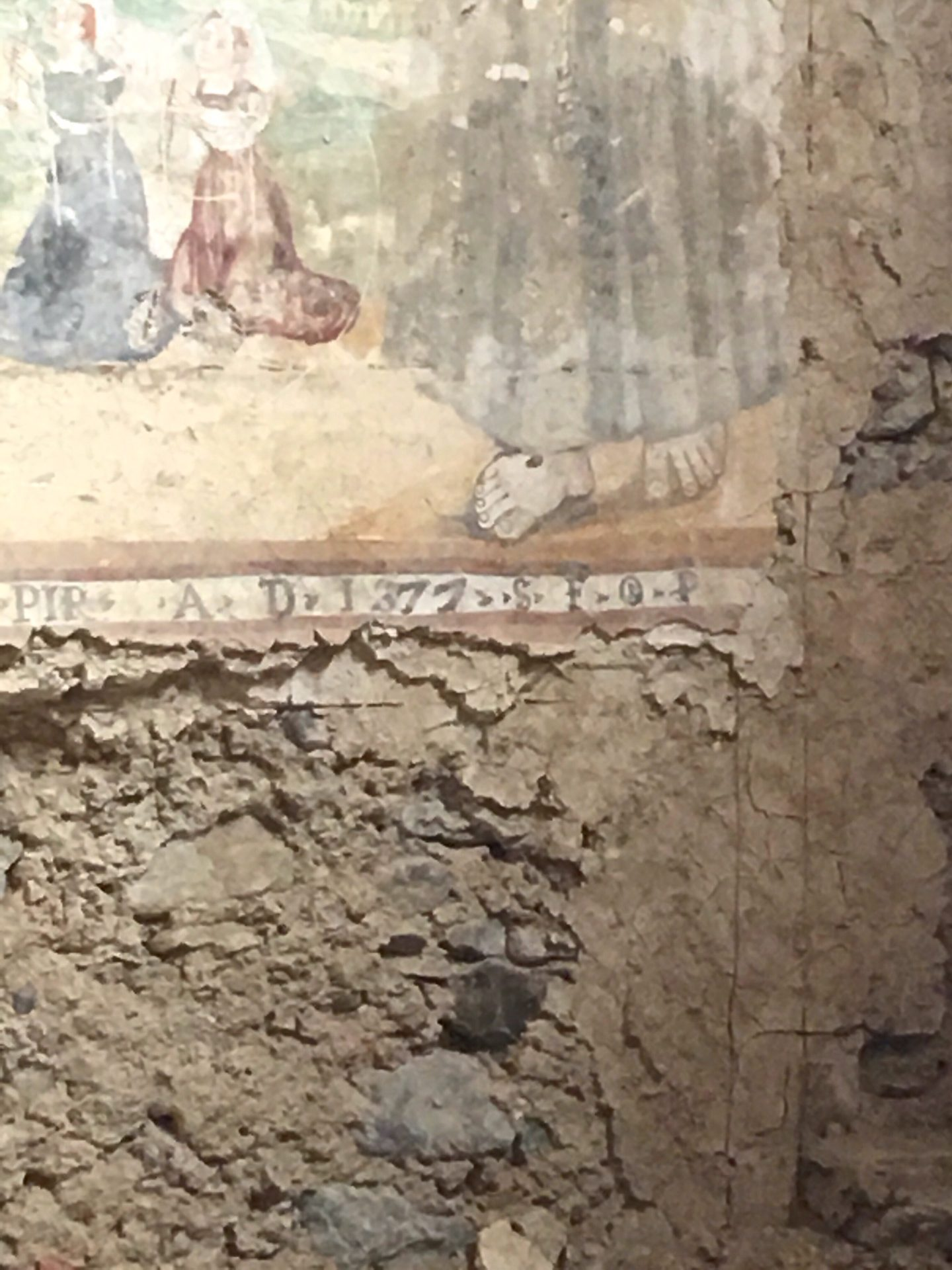 frescoe in Convento San Francesco, Basilicata, dated to 1377 A.D