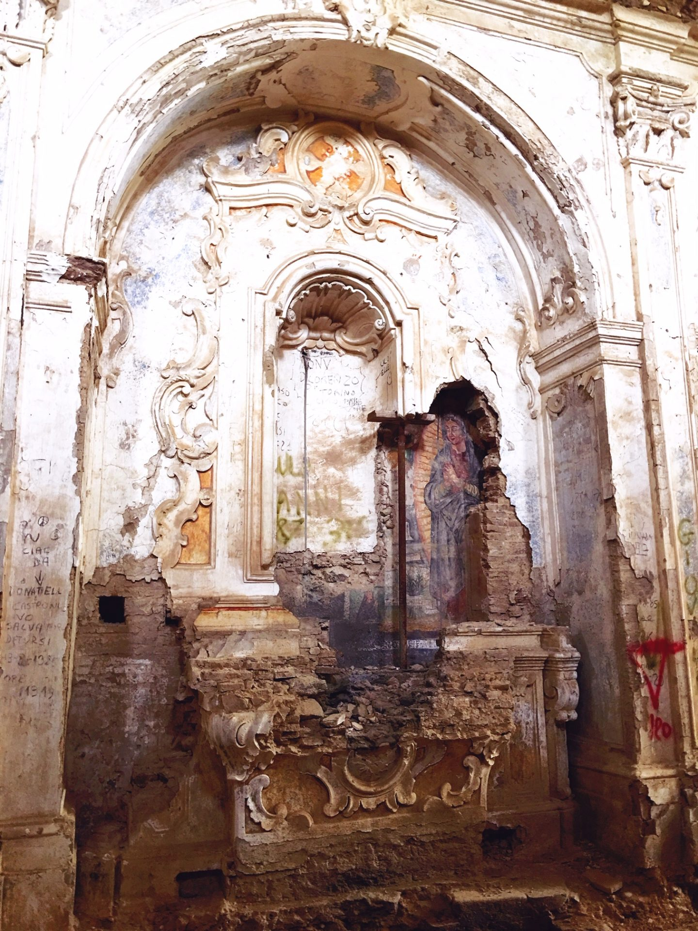 frescoes behind the walls in Convento San Francesco, Tursi, Basilicata