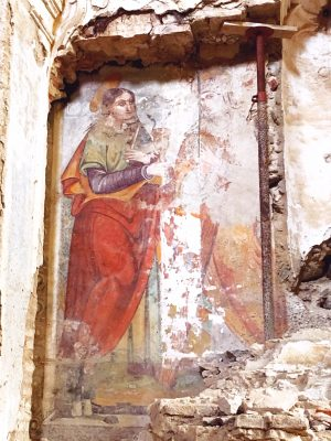 byzantine art in the Convento San Francesco, and abandoned chhurch in Tursi, basilicata, Italy