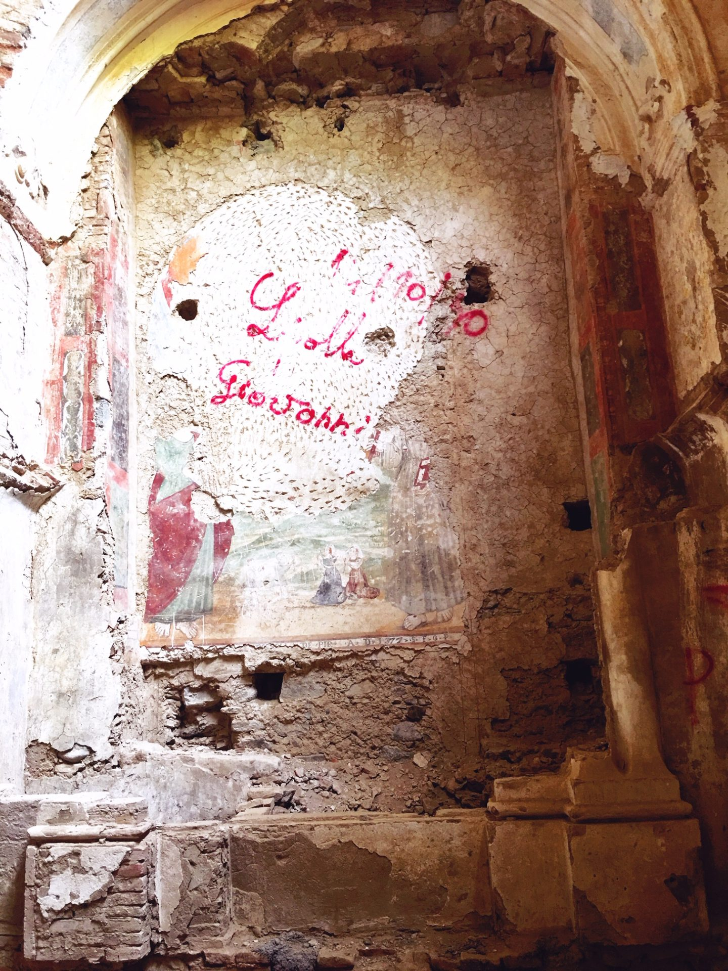hidden frescoes in the abandoned church at the Convento San Francesco in Tursi, basilicata