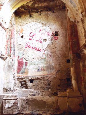 hidden frescoes in the abandoned church at the Convento San Francesco in Tursi, basilicata