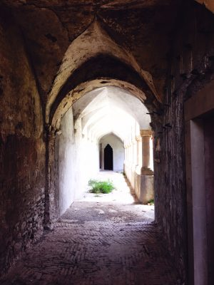 ugly concrete restoration destroys the look of the abandoned monastery at Convento San Francesco, Tursi, Italy