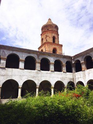 modern concrete restorations below the dome at Convento San Francesco in Tursi