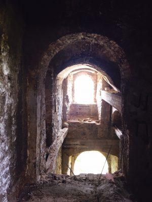 missing floors inside the abandoned monastery at th Convento san Francesco in Tursi, basilicata