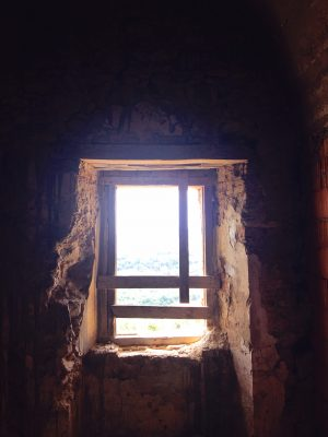 Window in a monk's cell in the abandoned monastery at Convento San Francesco in Tursi