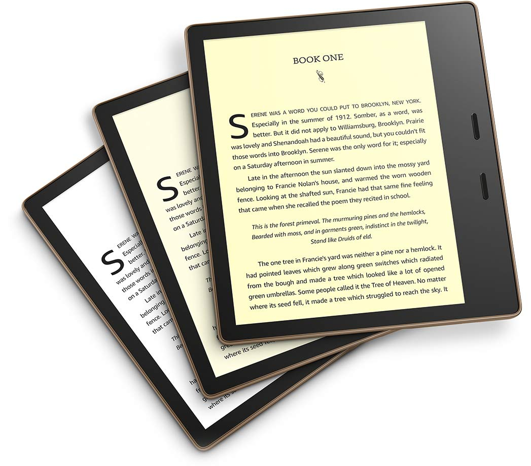 Kindle Oasis with warm light option, waterproof