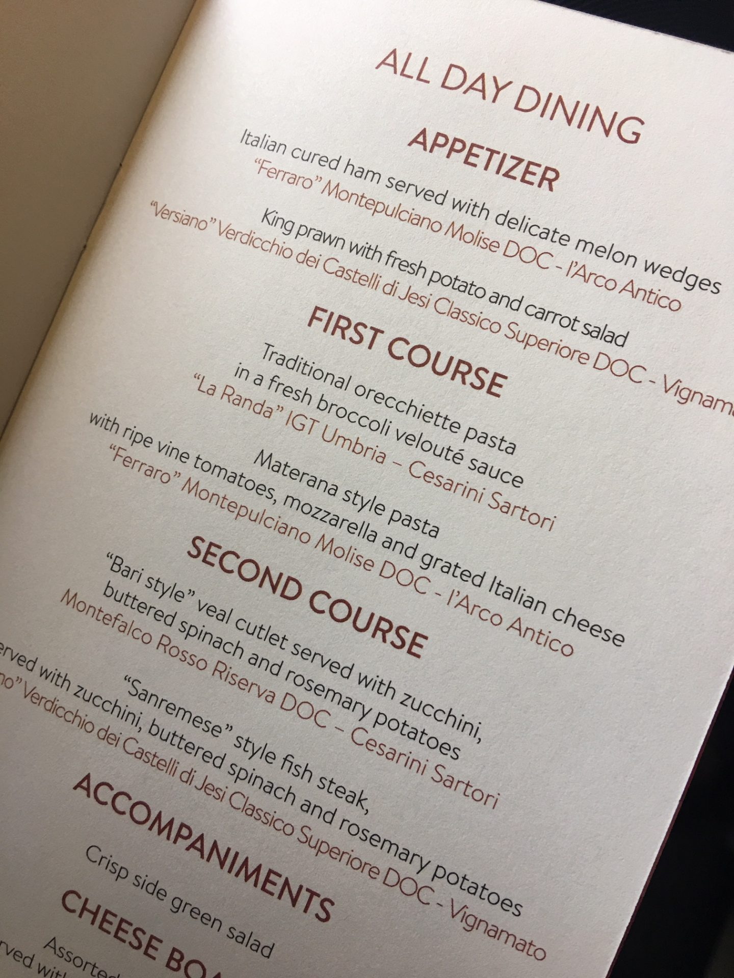 business class menu on alitalia flight from LAX to Rome