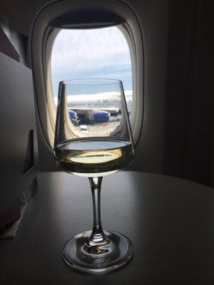 champgne in first class on al italia