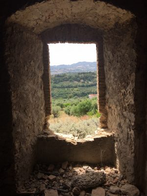 view from monk's cell in the abandoned monastery at Convento San Francesco in Tursi