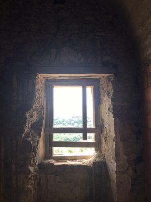 Monk's cell window inside the monastery at the Convento San Francesco in Tursi, Basilicata