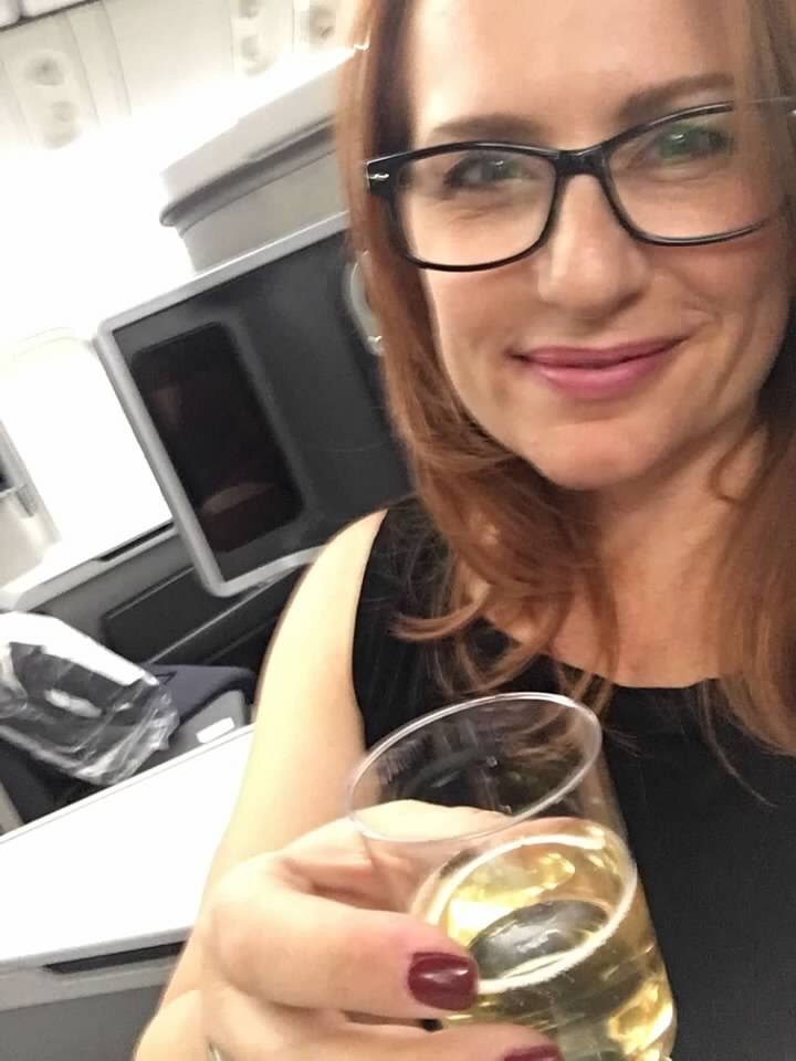 Corinna Bs World first class American Airlines