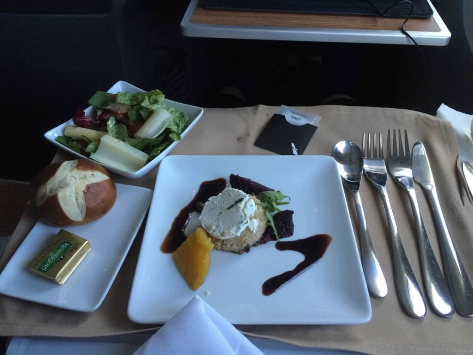 International business class food on American Airlines