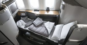 First class seat on American Airlines international flight