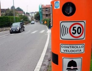 camera speed trap on italian road.