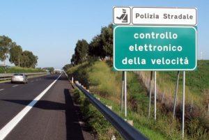 camera speed trap sign on italian road