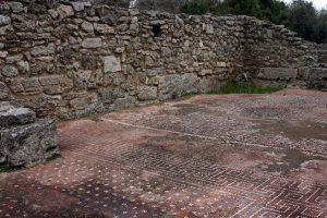 mosaic floors in ruins on ancient roman homes in Paestum