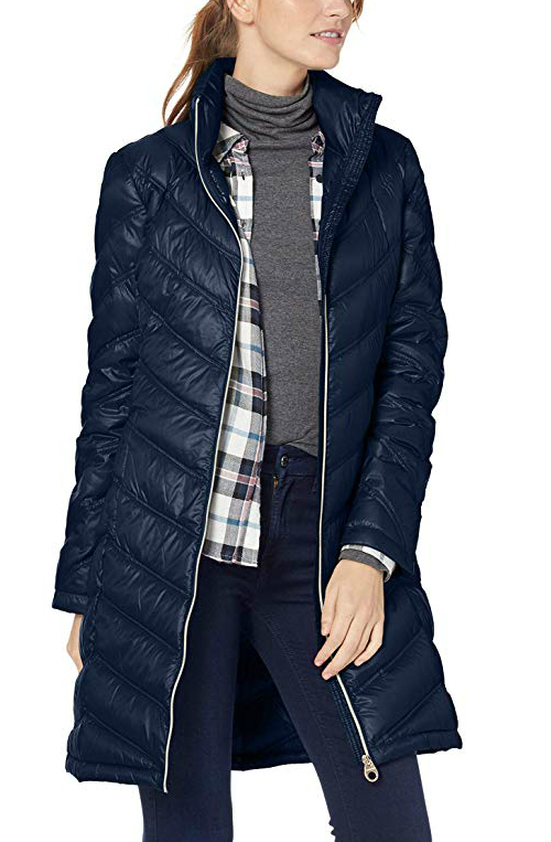 Calvin Klein packable down puffer coat for travel