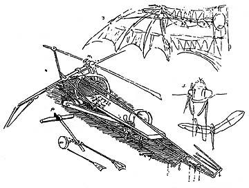 Leonardo da Vinci ornithopter sketches