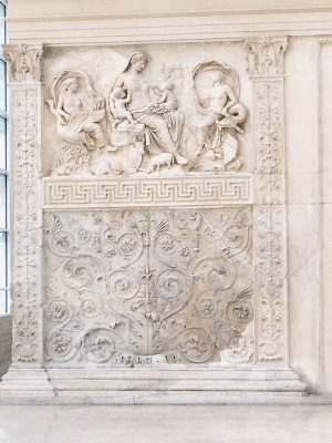 2000 year old carvings on the back wall of Ara Pacis in Rome