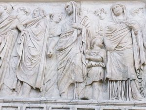 Agrippa and Julia on the exterior of Ara Pacis in Rome