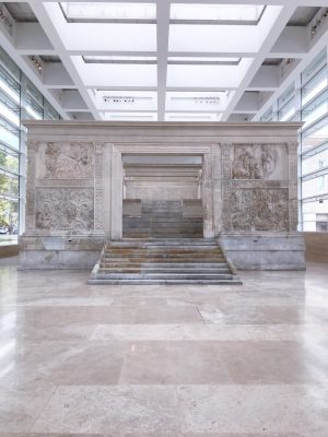 Ara Pacis in Rome is bathed in natural light