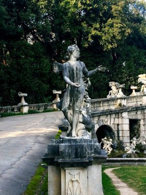 statues on the bridge in caserta palace gardens