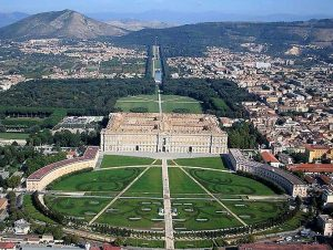 overview of the palace at caserta and its gardens