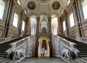 grand staircase to royal apartments in Caserta palace