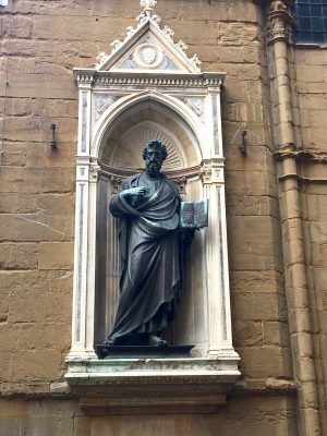 sculpture of St Matthew by Lorenzo Ghiberti at Orsanmichele in Florence